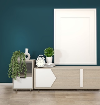 Frame on wooden cabinets tv in a dark green room and decoration.3d rendering