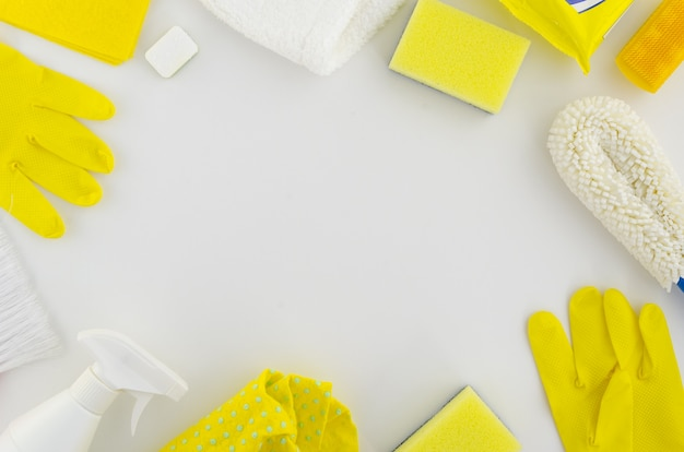 Frame of yellow and white cleaning hygiene products set