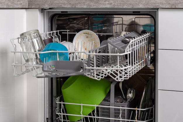 Framed image of a dishwasher with a folded dirty dishware