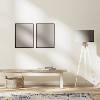 프레임은 현대적인 거실 인테리어, 햇빛이 비치는 밝은 방, 벽 조롱, 3d 렌더링