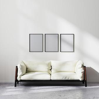 프레임은 흰색과 검은색 소파, 현대적인 거실 배경, 3d 렌더링을 갖춘 스칸디나비아 미니멀리즘 스타일의 거실 인테리어를 조롱합니다.