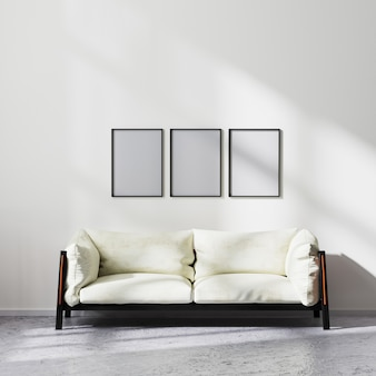 Frames mock up in scandinavian minimalistic style living room interior with white and black sofa, contemporary living room background, 3d rendering