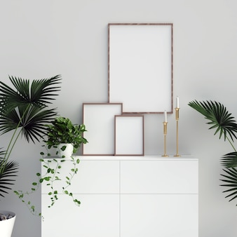 Frames mockup on cabinet with plant decorations