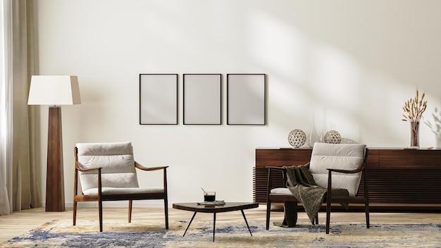 안락의자, 플로어 램프, 깔개, 커피 테이블, 가정 장식이 있는 서랍장, 3d 렌더가 있는 중성 색상의 밝고 현대적인 거실 내부의 프레임
