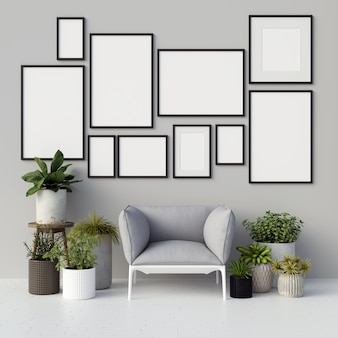 Frames mockup with plant decorations