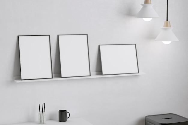 흰색 선반 아티스트 룸에 프레임
