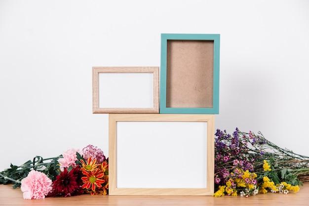 Frames for photos on table