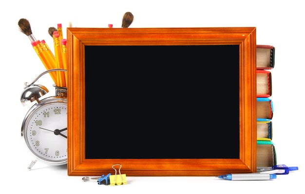 フレームワークと学校のツール。白いテーブルの上。