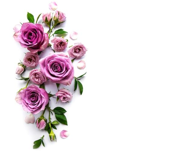 白い背景の上のバラからのフレームワーク。フラットレイ。