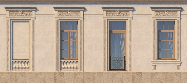 Framing of windows in classic style on the stone. 3d rendering.