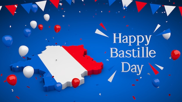 France 3d with balloons pennants and confetti concept