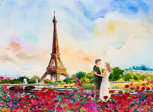 Франция, эйфелева башня и влюбленная пара
