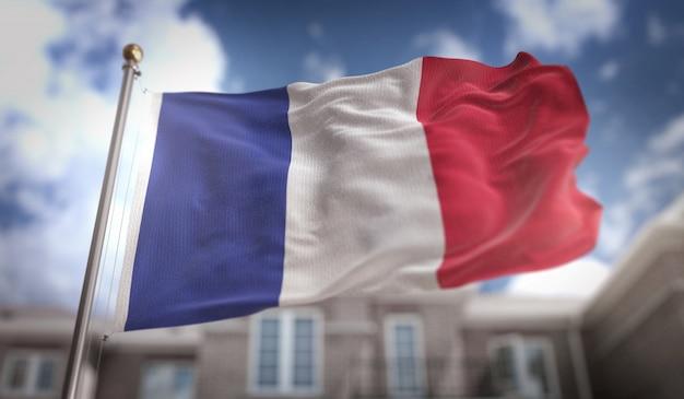 푸른 하늘 건물 배경에 프랑스 국기 3d 렌더링