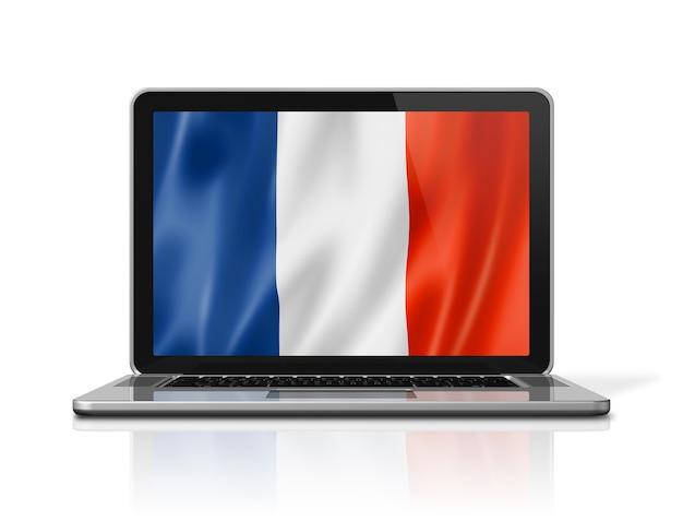 France flag on laptop screen isolated on white. 3d illustration render.