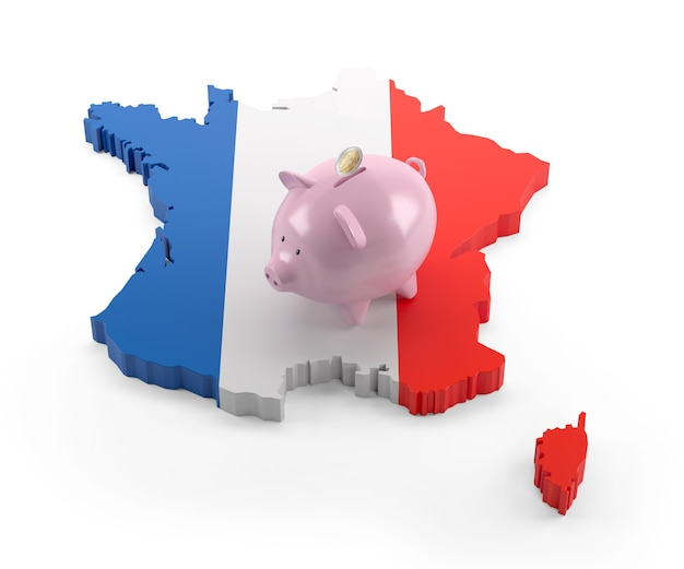 돼지 저금통에 프랑스 국기 지도입니다. 3d 그림