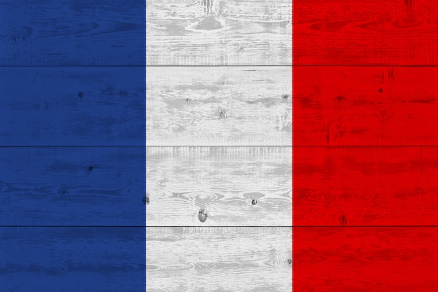 France flag painted on old wood plank