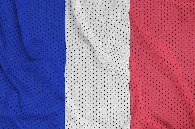 France flag printed on a polyester nylon sportswear mesh fabric