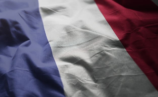 France flag rumpled close up