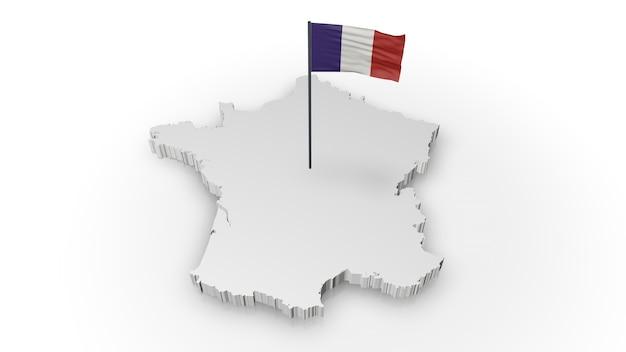 フランスの地図と国旗
