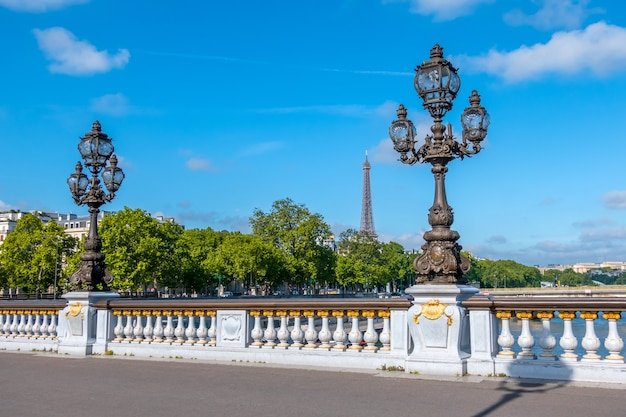 France, paris. summer sunny day. lanterns on the bridge alexandre iii across the river seine. eiffel tower in the distance