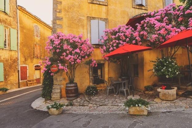 Франция улица прованс, старинные дома с зелеными растениями и цветущими цветами