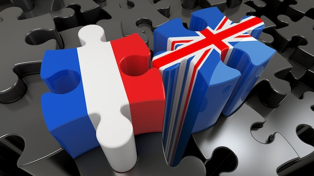 France and united kingdom flags on puzzle pieces. political relationship concept. 3d rendering