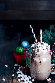 Frapuccino with whipped cream and chocolate syrup