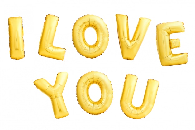 Frase i love you made of golden inflatable balloons isolated on white background