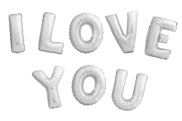 Frase i love you made of silver inflatable balloons isolated on white background