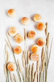 Frash buns and wheat ears