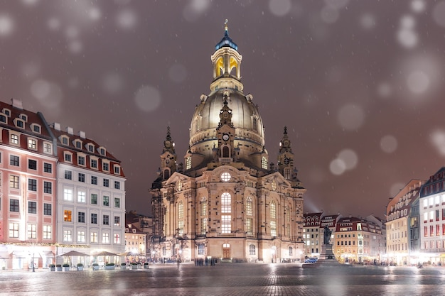 Frauenkirche at night in dresden, germany