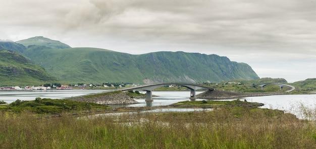 The fredvang bridges, fredvangbruene, two cantilever bridges, flakstad, norway