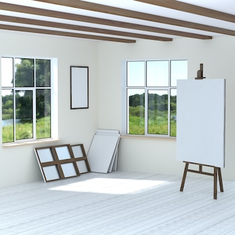 Free artist workshop easel empty blank canvas frames. the bright room with two windows