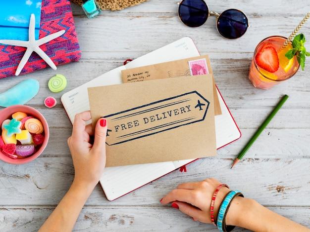 Бесплатная доставка текста на конверте