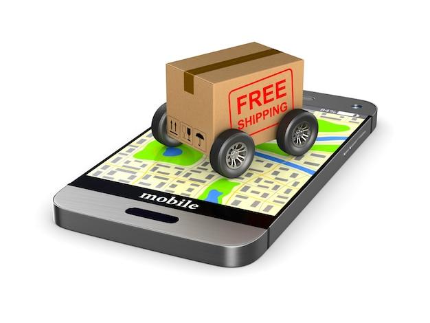 Бесплатная доставка грузовой ящик с колесом и телефоном на белом фоне. изолированная 3-я иллюстрация