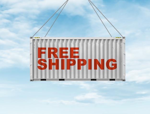 하늘에 매달린 무료 배송 컨셉의 컨테이너 상자