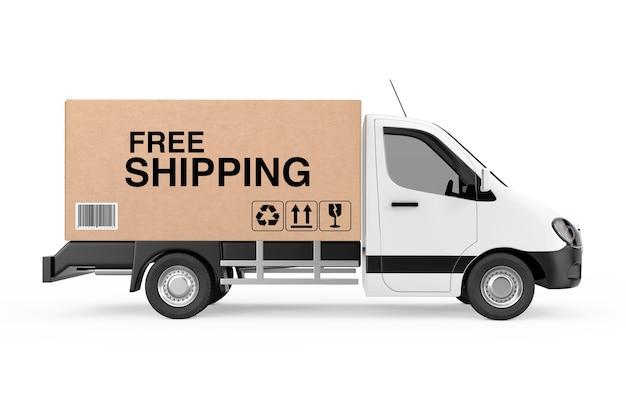 Бесплатная доставка. белый коммерческий промышленный грузовик фургон доставки груза загружен с картонной коробкой со знаком бесплатной доставки на белом фоне. 3d рендеринг