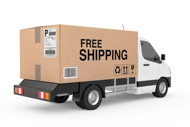 Free shipping concept. white commercial industrial cargo delivery van truck loaded with cardboard box with free shipping sign on a white background. 3d rendering
