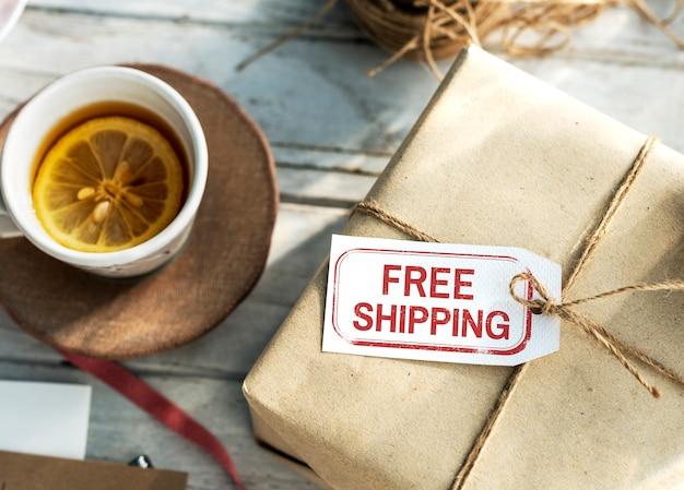 Бесплатная доставка службы доставки знак концепции