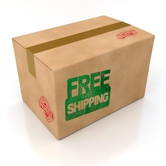골판지 상자에 찍힌 무료 배송, 렌더링