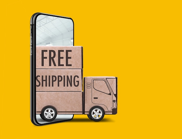 Бесплатная доставка написано на деревянном прицепе, выходящем из смартфона на желтом фоне