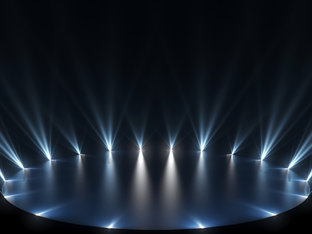 青いライトと暗い背景のフリーステージ