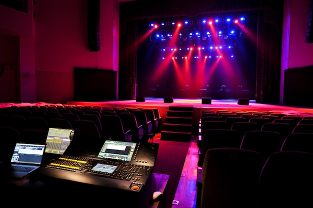 Free stage with lights, lighting devices. background.