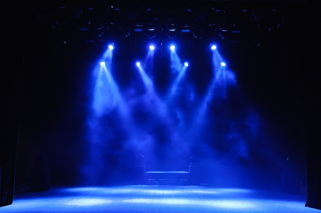 Free stage with lights, lighting devices on the consert.