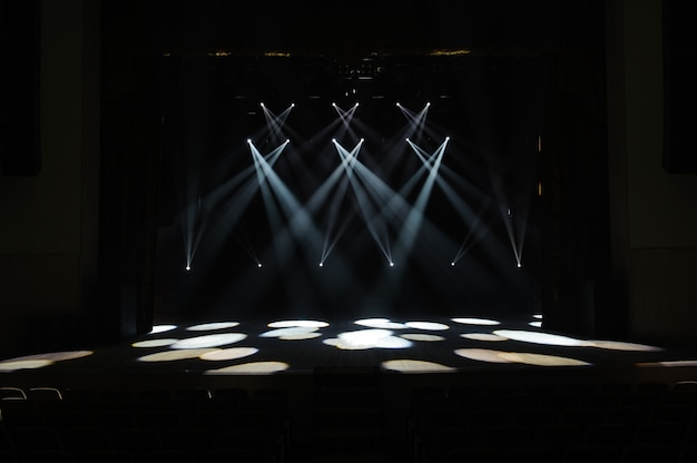 Free stage with lights, lighting devices. night show.
