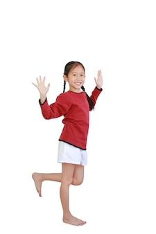 自由運動アジアの小さな子供の女の子