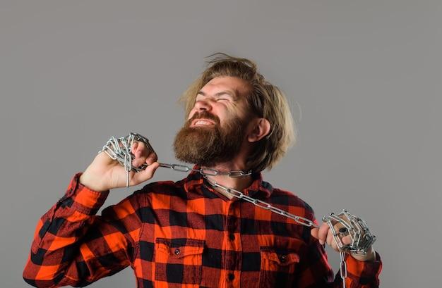 言論の自由金属チェーン首周り奴隷の人々問題チェーンを持つ男金属チェーンを持つ男
