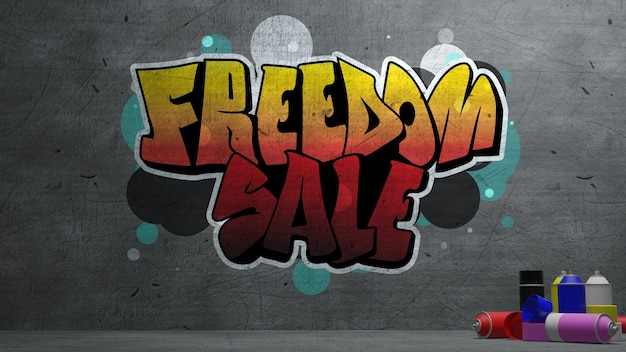 Freedom sale graffiti on concrete wall  texture stone wall background.  3d rendering