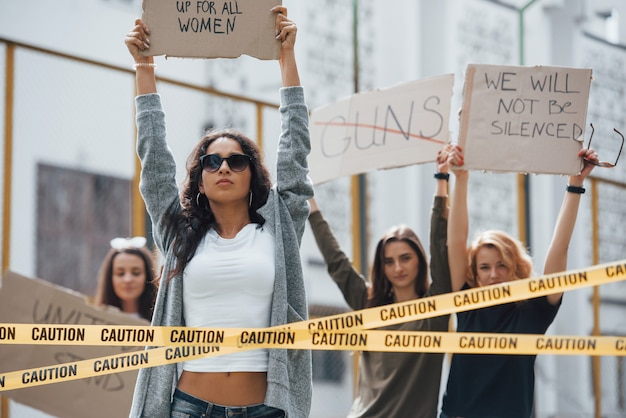 Freedom of speech. group of feminist women have protest for their rights outdoors