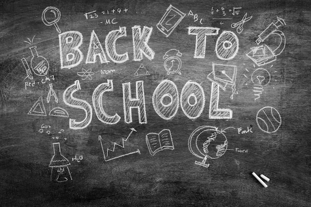 Freehand drawing back to school on chalkboard ,filtered image pr